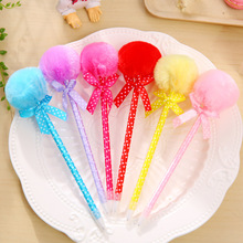 40pcs/pack Hot-sell Korea Stationery Aesthetic Bow Polka Plush Fur Ball Ballpoint Pen Blue Ink 0.5mm Gift Prize Office