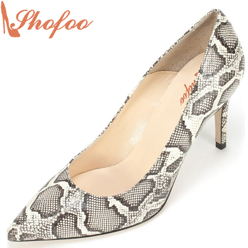 Shofoo New Handcrafted Women Sexy High Heels Pointed Toe Snakeskin Pattern Woman Pumps Slip-on Party Dress Evening Shoes  shofoo newest women shoes med heels pointed toe pumps for woman dress
