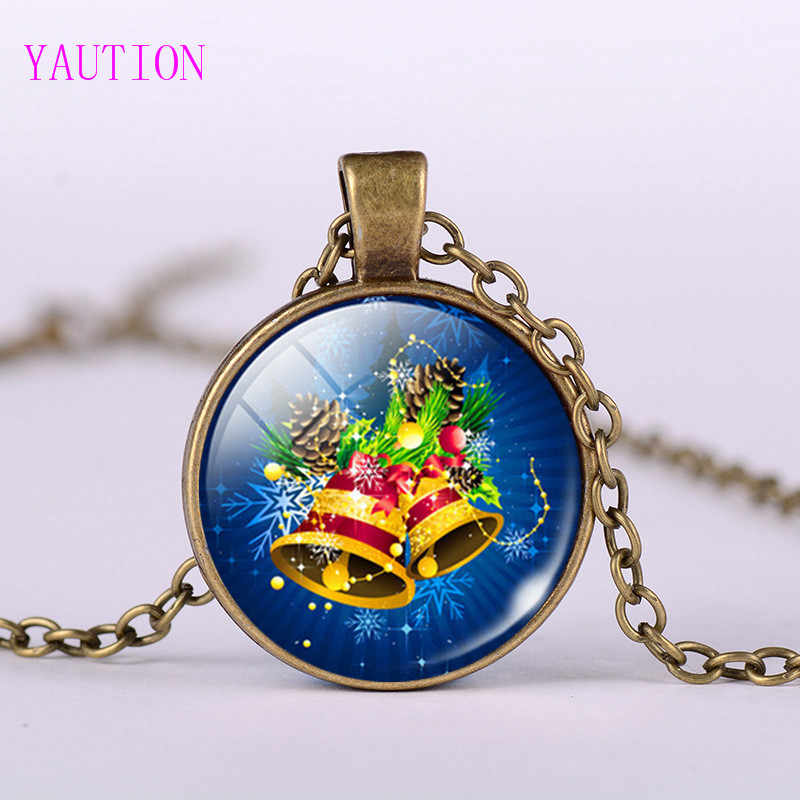3/Color  New Arrival Christmas Jewelry Jingle Bell Pocket Watch Necklace Glass Art Print Pendant Gifts for Boys Girls