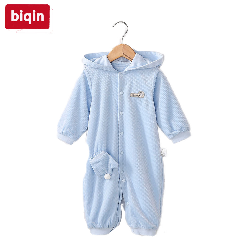 Biqin 3M-9M boys clothes boys rompers baby children kids clothing boys girls Spring Autumn rompers Baby Warm Long Coat цена 2017