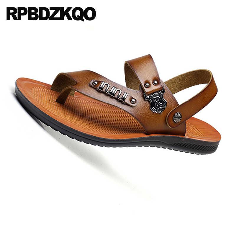 b4b7947bdd8c6 ... Flat Runway Men Sandals Leather Summer Outdoor Shoes Breathable Slides  Brown Italian Sport Toe Loop Sneakers ...