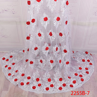 Nigerian White Lace Fabrics For Wedding 2018 African French Lace Fabric High Quality 3D Lace Red Tulle Lace Applique XZ2255B 2