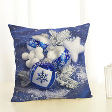 Square Linen Cover Cushion Pillowcase Ball Pattern Christmas Gift