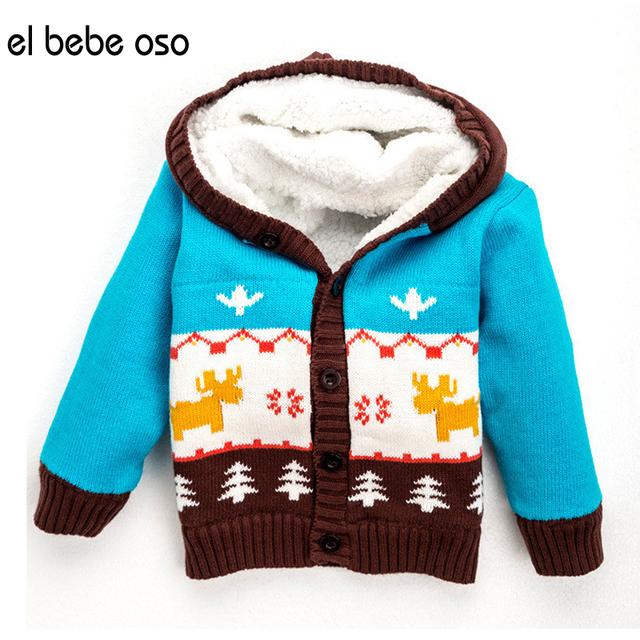 El bebe oso Niños Suéter de Invierno Niño Solo Pecho Cardigans Suéteres Bebé Muchacha del Muchacho de Navidad Ciervos Fleece Warm Coat XL52