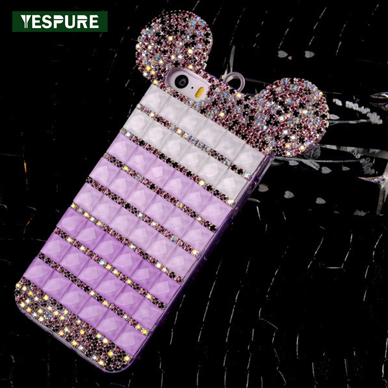 YESPURE Fancy Bling Berlian Mouse Ears Kasus Telepon Mewah untuk - Aksesori dan suku cadang ponsel - Foto 1