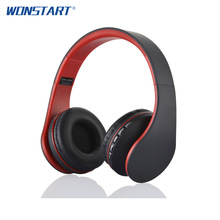 Wonstart Folder Bluetooth Headphone Portable Bluetooth Headset Sport Earphone with Mic TF Card FM Radio for Smart Phone PC TV