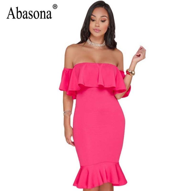 Women' Sexy Off Shoulder Ruffle Party Mermaid Elegant Midi Long Dress