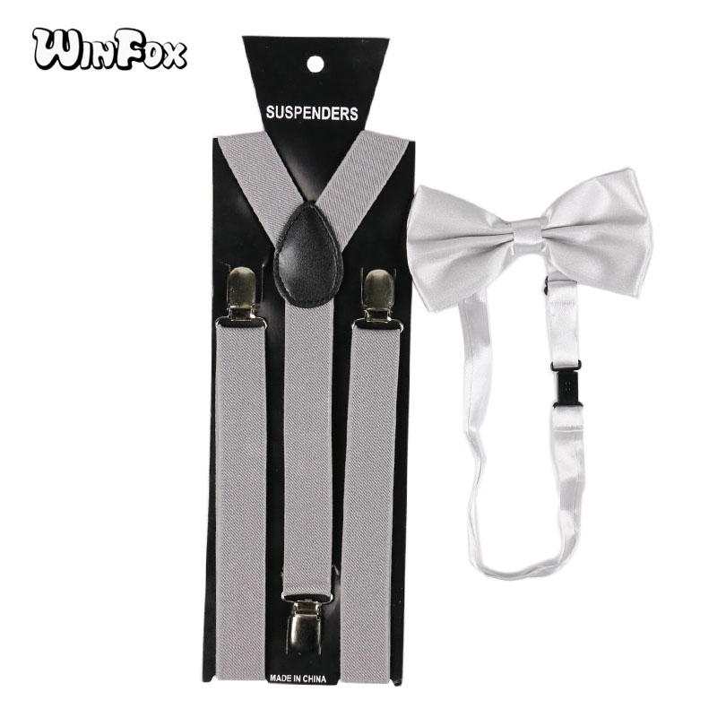 Winfox Fashion Grey Man's Suspenders Bowtie Set Men Women 2.5cm Wide Elastic Braces Bow Tie
