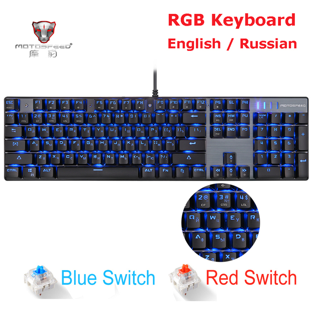MOTOSPEED CK104 CK61 Russian English Mechanical Keyboard RGB Backlight Anti Ghosting Gaming keyboard For Teclado Game Computer