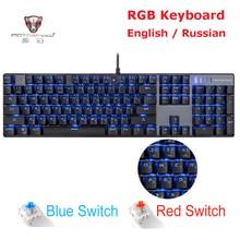 MOTOSPEED CK104 CK61 rosyjska angielska klawiatura mechaniczna podświetlenie RGB Anti Ghosting klawiatura do gier na komputer gamingowy Teclado