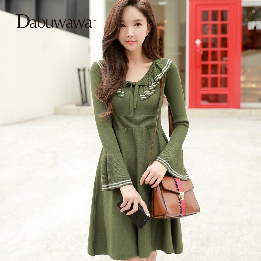 Dabuwawa зеленый зимний сексуальный v-образный вырез ТРАПЕЦИЕВИДНОЕ вечерние платье винтажное вязаное платье элегантное платье с рюшами