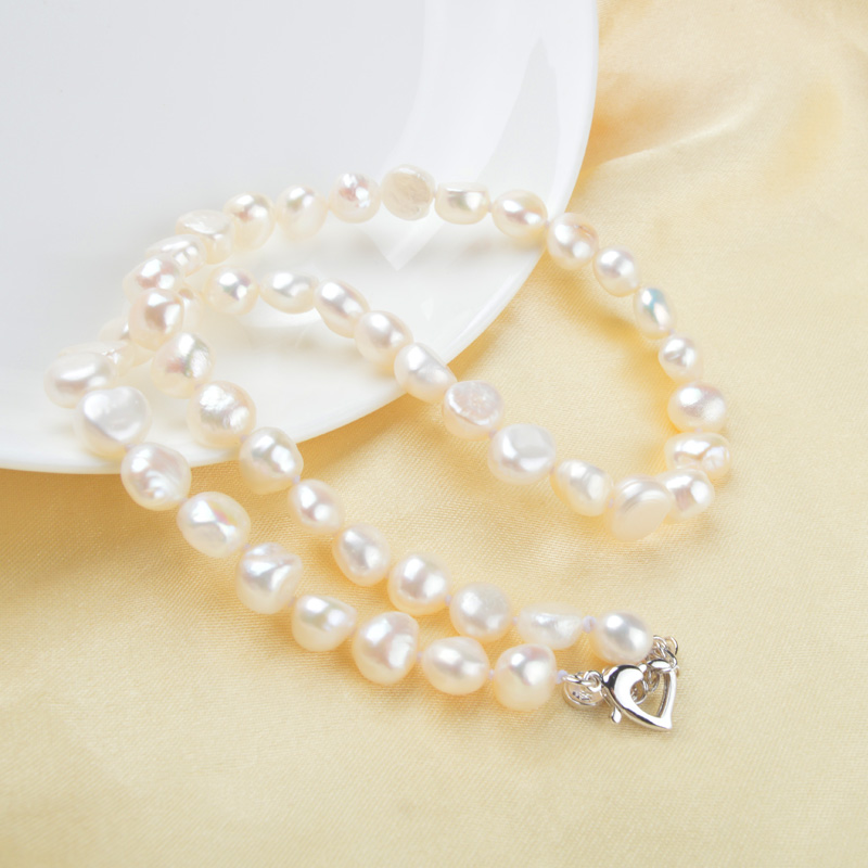 ASHIQI White Natural Baroque pearl choker Necklace 9 10mm Real Freshwater pearl jewelry for women Fashion ASHIQI White Natural Baroque pearl choker Necklace 9-10mm Real Freshwater pearl jewelry for women Fashion gift