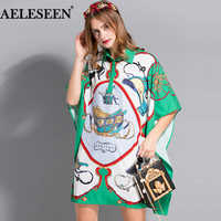 AELESEEN Luxury Batwing Sleeve Blouse Fashion 2018 Runway Summer Turn-Down Loose Top Multicolor Print Split Shirts For Women