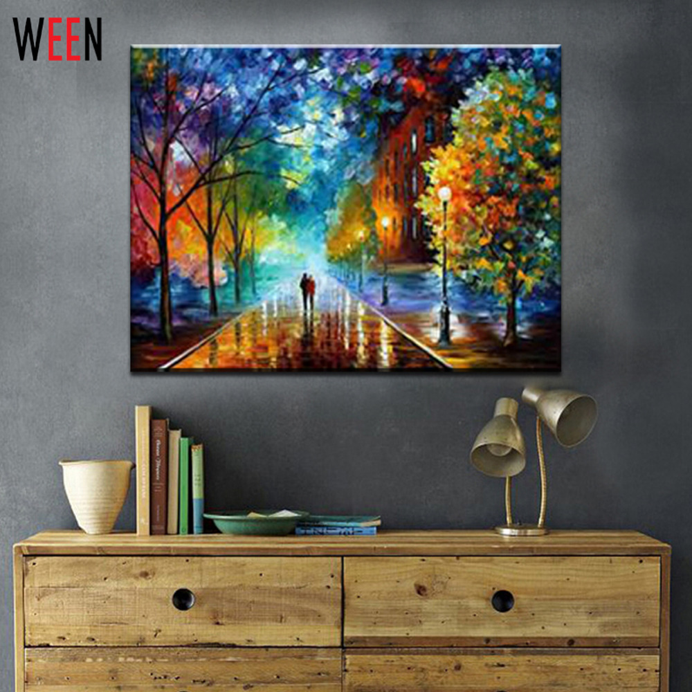 WEEN Pedesaan Landscape Lukisan dengan Nomor DIY Minyak Cat 40X50 CM Kanvas Seni Pecinta Berjalan di Jalan Lukisan Minyak ...