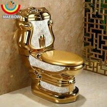 Европейский стиль, художественный Золотой раздельный унитаз, Гравитационный промывочный s-ловушка, напольный, роскошная вилла, сиденье для ванной комнаты, унитаз