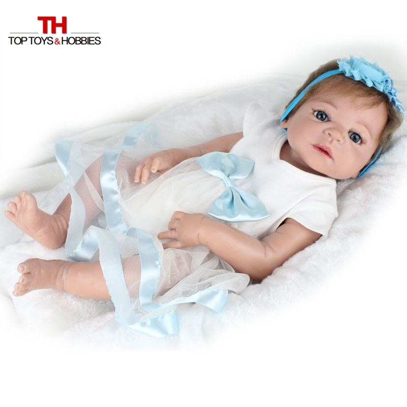 NPKDOLL 22 inches Doll Reborn Full Silicone Bebe Girl Doll Blue Eyes Child Birthday Gift Realistic Adorable Babies Born Dolls npkdoll bebe reborn baby doll realistic soft silicone reborn babies juguetes girl 22 inch 55cm adorable kids brinquedos toy