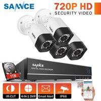 SANNCE 4CH 720 P CCTV системы 1080N DVR комплект 4 шт. 1200TVL водонепроницаемый камеры скрытого видеонаблюдения наборы для наружного видеонаблюдения для до