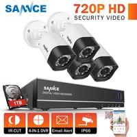 SANNCE 4CH 720P CCTV System 1080N DVR Kit 4PCS 1200TVL Waterproof Surveillance Cameras CCTV kits for Home Security 1TB hdd