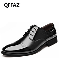 QFFAZ New Pointed Toe High Quality Men Casual Shoes Style Patent Leather Flat Lace Up Oxford