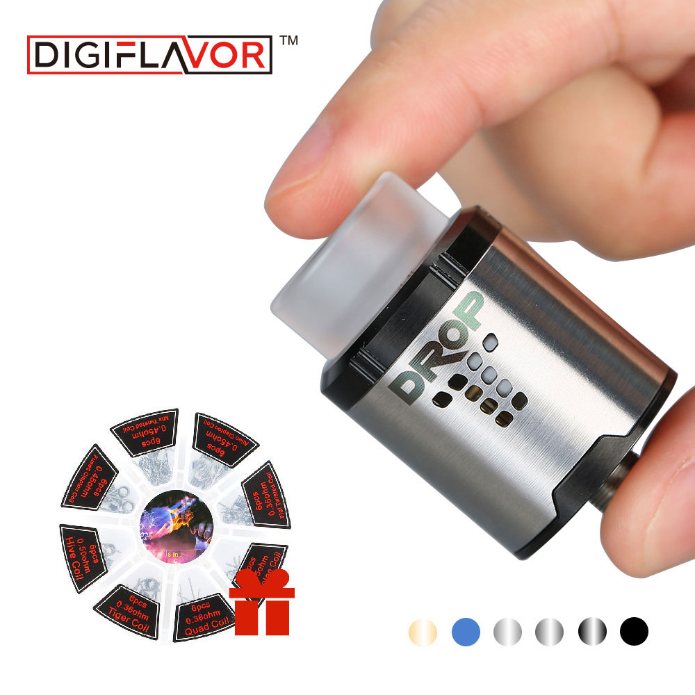 Digiflavor DROP RDA Rebuildable Drip Atomzier 24mm 810/ 510 drip tip with 8 in 1 coil set Easy Coil Placement for squonk MODs