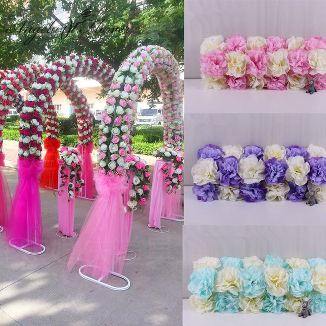 Diy Wedding Decoration Props Simulation Silk Flowers Rose Arch Artificial Flower Road Led