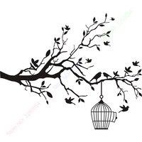 حار بيع فرع شجرة مع الطيور ملصقات الحائط جدار صائق جدارية ديكور