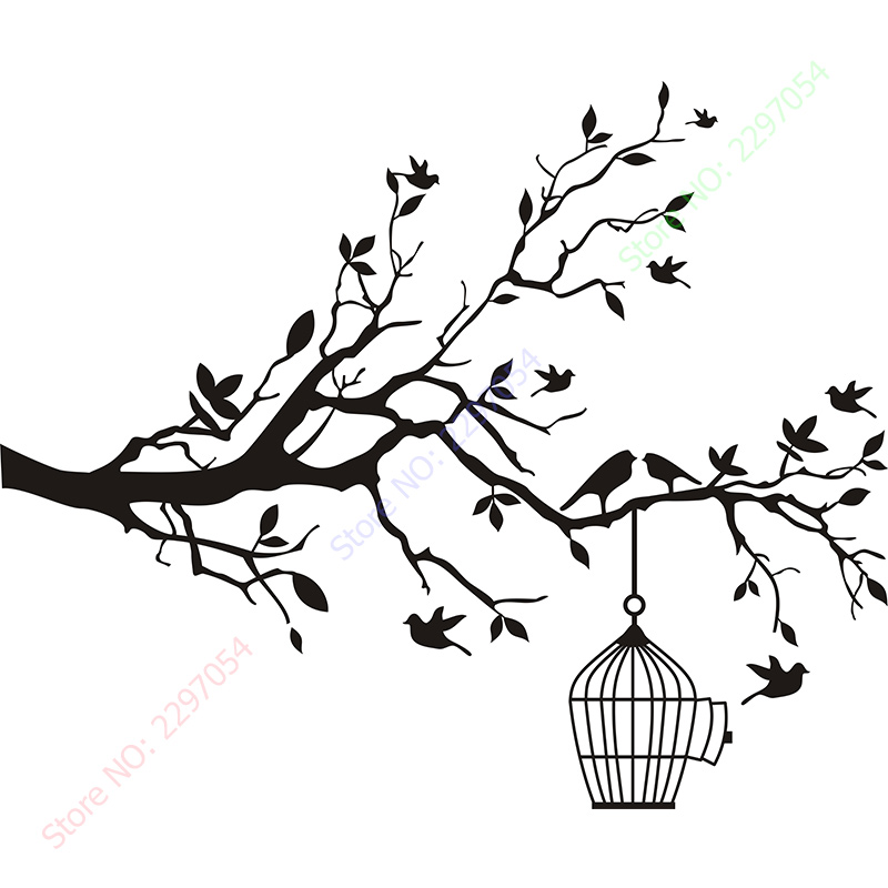 Hot Sale Tree Branch With Bird Cage Wall Stickers Wall