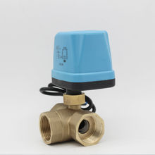 AC220V AC24V electric ball valve electric actuator motorized ball valve 3 way Brass valve DN15 DN20 DN25(China)