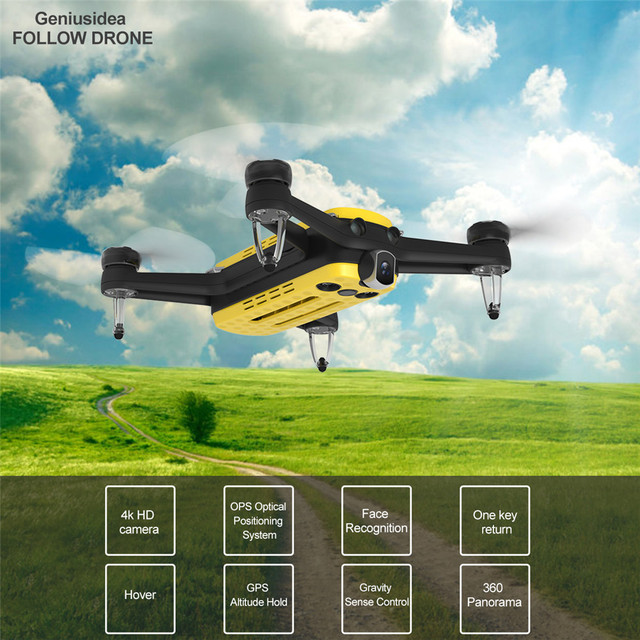 Geniusidea Follow drone 13MP Selfie drone with route planing/Face Recognition/visual following function 18650 Li-ion battery