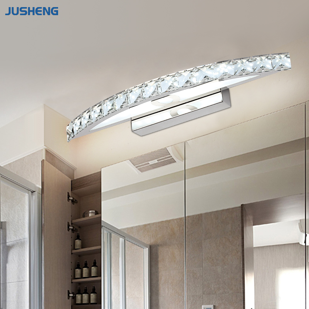 Hot selling chrome 10w led wall lights with crystal top mirror lamp in bathroom lighting fixtures 44cm long 100 240v ac in led indoor wall lamps from lights
