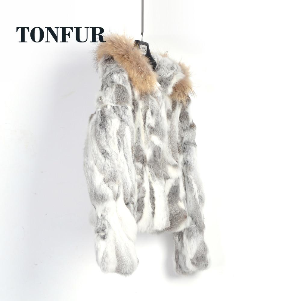 Real Fur Genuine Rabbit Fur Coat with hood Jacket and Luxury Natural Real Raccoon Fur Collar Hood waistcoat overcoat WSR262