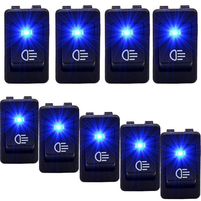 10PC 12V 35A Car Auto Fog Light Rocker Toggle Switch Blue LED Dashboard Sales Fit Most Cars n1 High Quality