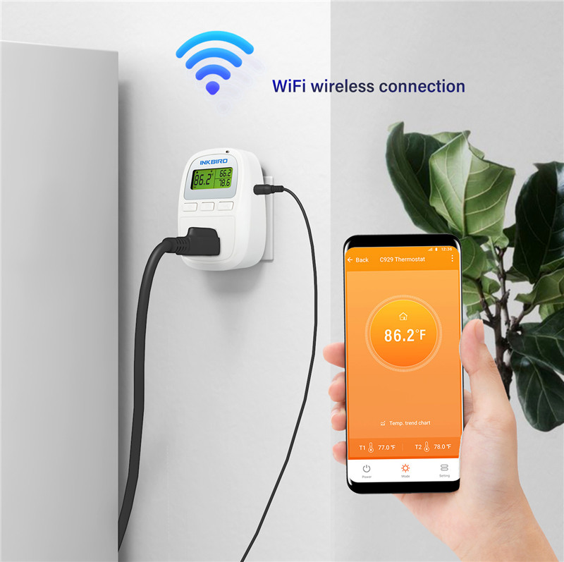 Inkbird C929 Wi Fi Digital Smartphone Heater Cooler Thermostat Smart 120VAC 1200W Temperature Controller IOS Android