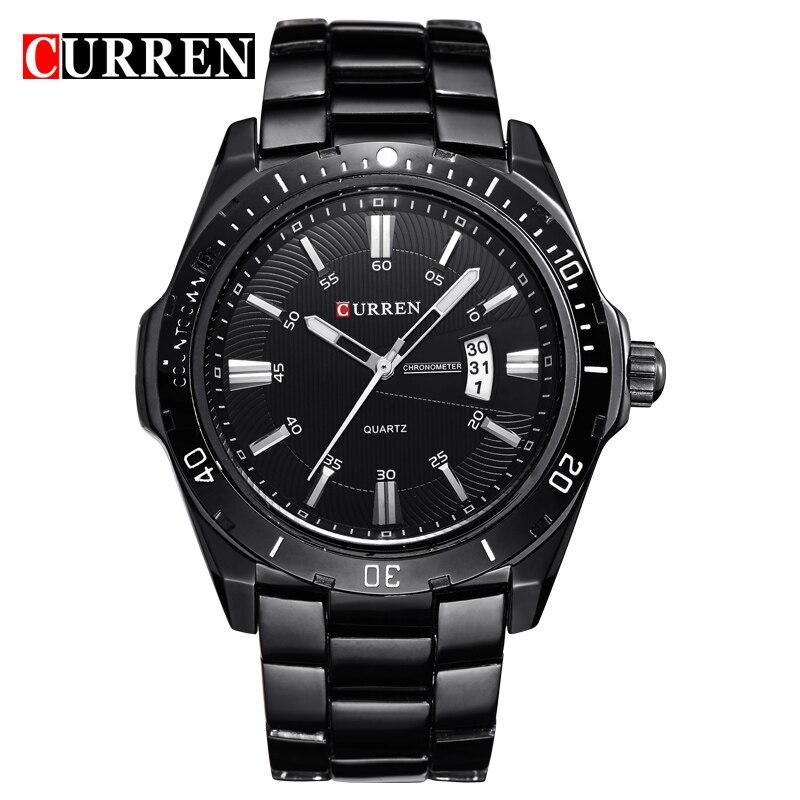 Prix pour Marque de mode curren marque militaires conception hommes d'affaires homme horloge casual en acier inoxydable de luxe poignet quartz sport montre cadeau