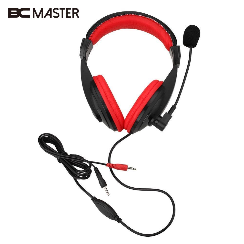 BCMaster Portable AUX Wired Gamer Headset Gaming Stereo Game Headphone Bass With Mic For PC Computer MP3 Player Casque Audio led bass hd gaming headset mic stereo computer gamer over ear headband headphone noise cancelling with microphone for pc game
