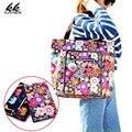 Venta caliente de las señoras del patrón de flor de La Momia bolsos 2017 nuevos bolsos de hombro de nylon Impermeable bolsa de Mensajero feminina bolsas fold over