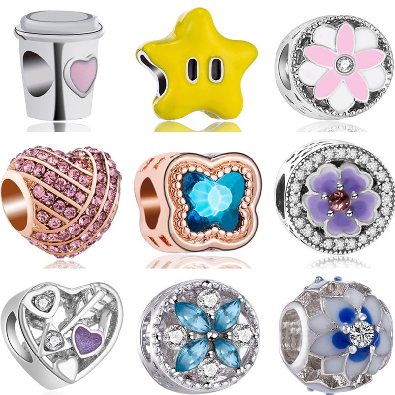 Bangles Charms Beads-Fit Flowers Pandora Bracelets Gifts Dog-Stars Party Butterfly Mickey