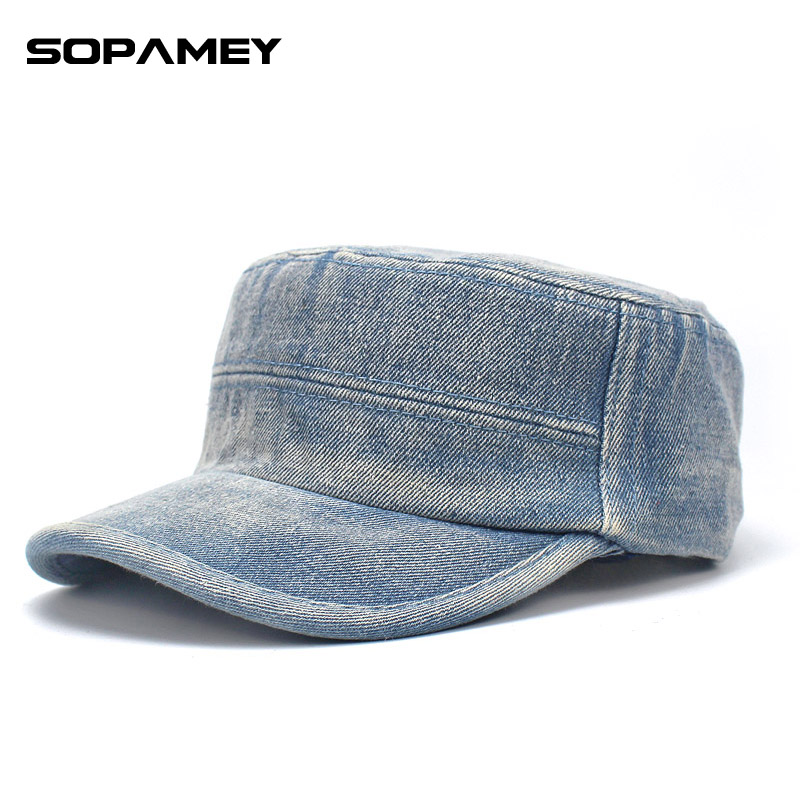 Vintage Flat Top Mens Solid color Denim Military Caps and Hat Adjustable Fitted Thicker Cap Classic Spring Warm Snapback Dad Hat