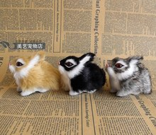 3 pieces a set simulation rabbit toys polyethylene&furs cute mini rabbit models about 9x5x6cm