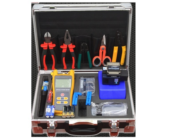 17pcs/set Optical Fiber Tool Box with FC-6S Fiber Cleaver and Optical Power Meter 10Mw Visual Fault Locator