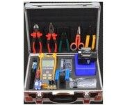 17pcs/set Optical Fiber Tool Box with FC 6S Fiber Cleaver and Optical Power Meter Visual Fault Locator 10