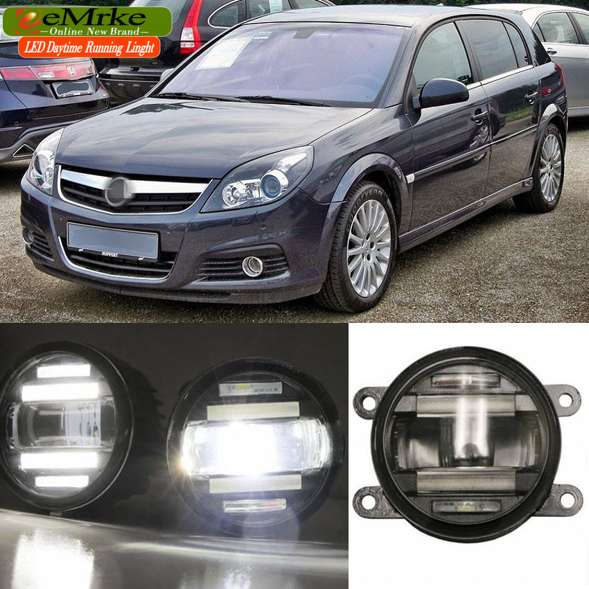 eeMrke Car Styling For Opel Signum 2005-2008 2 in 1 LED Fog Light Lamp DRL With Lens Daytime Running Lights eemrke car styling for opel zafira opc 2005 2011 2 in 1 led fog light lamp drl with lens daytime running lights