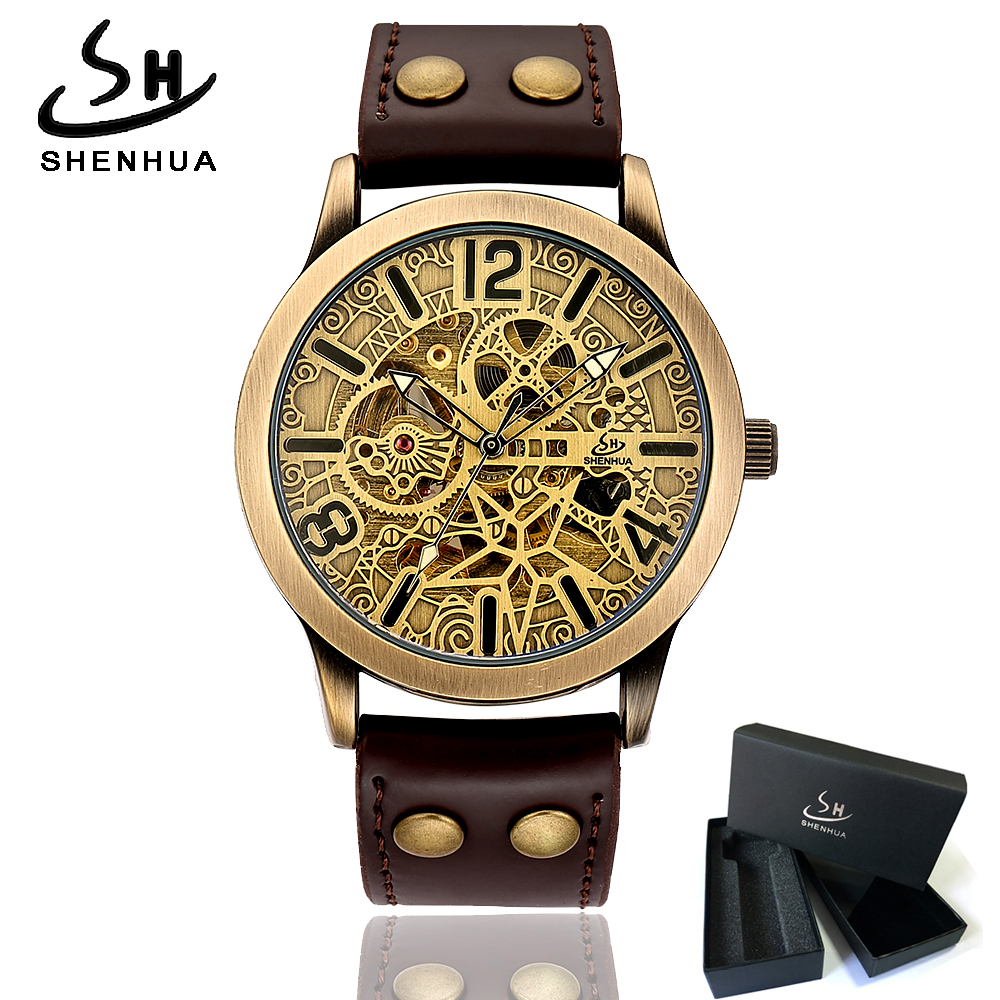 цена на Steampunk Skeleton Mechanical Automatic Wrist Watch Men 2018 Shenhua Vintage Mechanical Watches Self Winding Mens Leather Watch