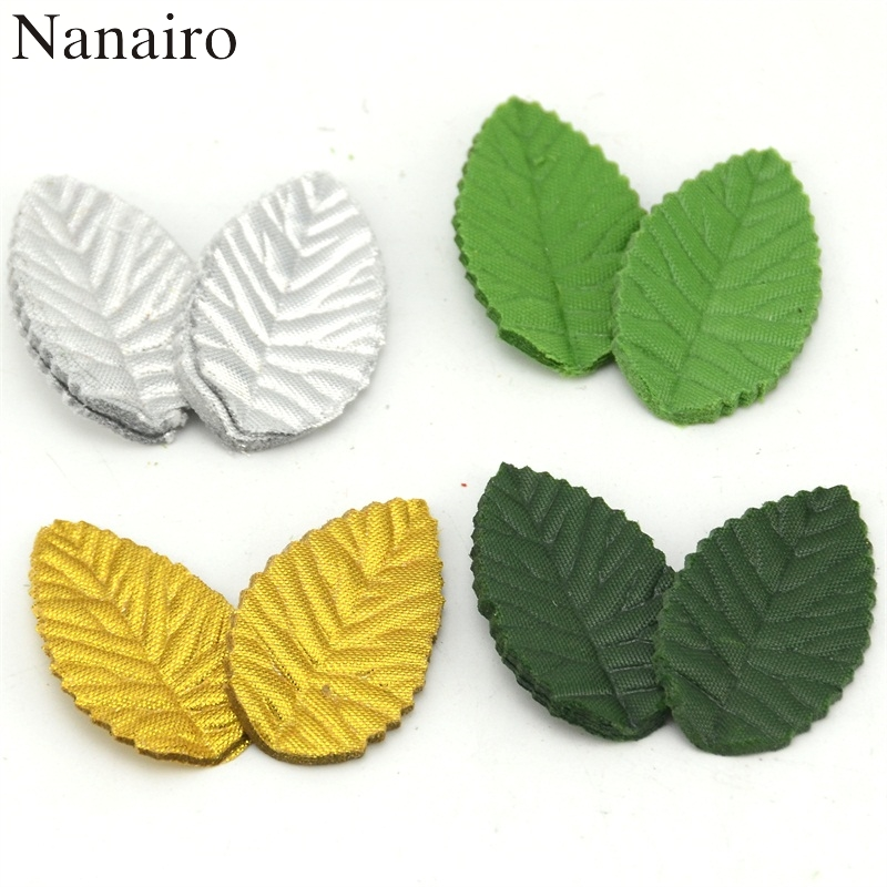 200pcs 4 Color Green Leaves Artificial Flower For Wedding Decoration Garland Rose Leaf Foliage Decorative Craft Fake Flowers