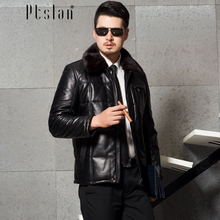 Ptslan 2016 Men's Genuine Leather Jacket Real Lambskin Down Coat Mink Collar