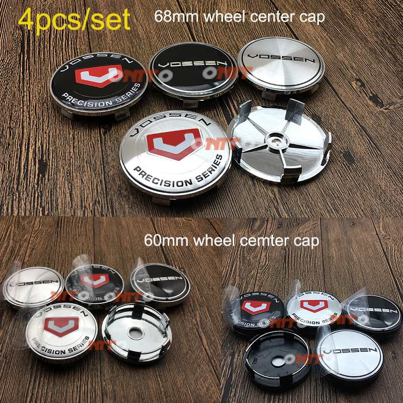 4pcs/set 60mm 68mm VOSSEN Logo Emblem Sticker Car Wheel Center Hub Cap Rim Cover For bmw vw benz ford honda mazda audi toyota car keychain key ring pendant metal alloy logo car emblem keyrings for vw audi toyota universal benz bmw car styling accessories