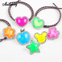Acrylic Bright Jelly Beads Rainbow Color Silver Base Heart Star Round For Jewelry Making DIY Hair Rope Ornaments Gifts