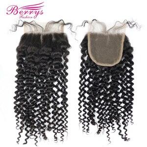 Image 4 - Brezilyalı Bakire Saç Sapıkça kıvırcık insan saçı 3 ADET Demetleri Kapatma ile 4x4 İşlenmemiş Saç Örgü Berrys Moda
