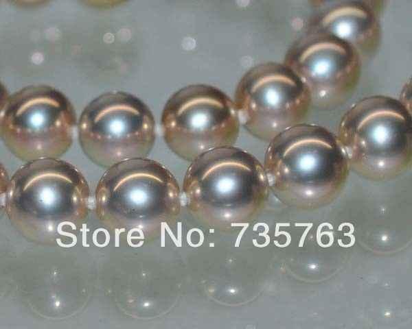 Xiuli 001284 14kgpトップナチュラル玉虫色パープルaaa + + 8ミリメートル完璧なラウンド真珠のネックレス