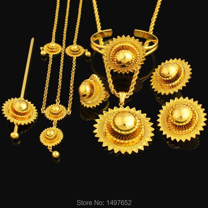 NEW Big Size Ethiopian Jewelry Sets 18K Gold Plated Hair Jewelry Sets African Ethiopian Kenya Women